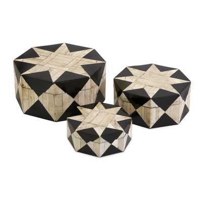 Lanta Bone Inlay Boxes - Set of 3 - Mercer Collection
