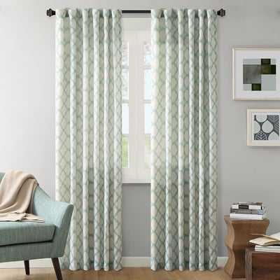 "Nakita Linen Single Curtain Panel - Aqua - 84""L - Wayfair"