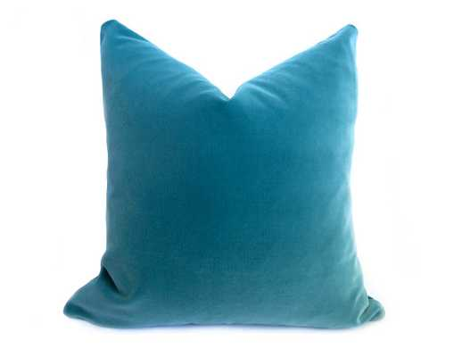 "Belgium Velvet Pillow Cover - Turquoise - 20"" x 20"" - insert not included - Willa Skye"