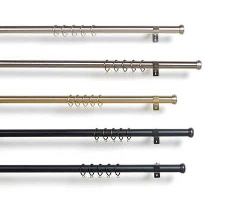 Custom Adjustable Drapery Hardware - Black - Hex - 66-120 - Single - Bypass - Loom Decor