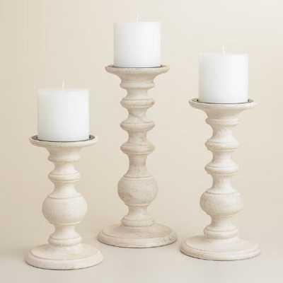 "White Wood Pillar Candleholder - 7""H - World Market/Cost Plus"