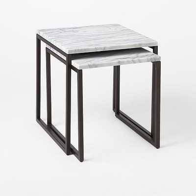 Box Frame Nesting Tables - Marble/Antique Bronze - Set of 2 - West Elm