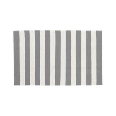 Olin Grey Striped Cotton Dhurrie 8'x10' Rug - Crate and Barrel