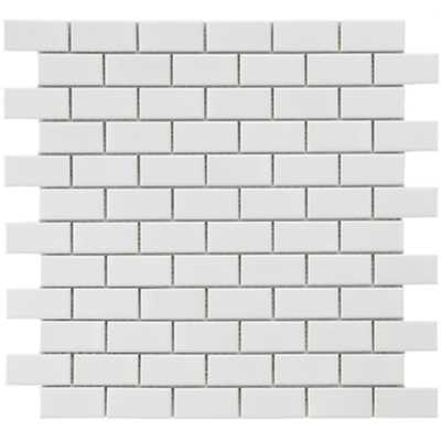 Metro Subway Glossy White 11-3/4 in. x 11-3/4 in. x 5 mm Porcelain Mosaic Tile (9.6 sq. ft. / case) - Home Depot