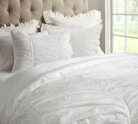 Hadley Ruched Duvet Cover - Full/Queen - White - Pottery Barn
