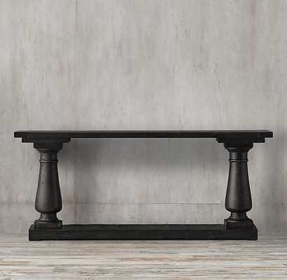 "BALUSTRADE SALVAGED WOOD CONSOLE TABLE - 58""W - Salvaged Black - RH"