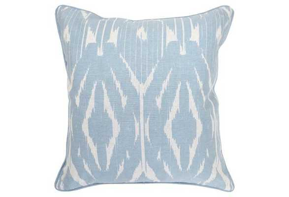 Ikat 20x20 Cotton Pillow, Blue - Feather/Down Insert - One Kings Lane