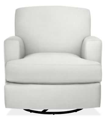 Carter Swivel Glider Chair - White - Velvet - Room & Board