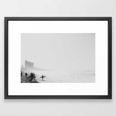 San Diego Surf Beach - 26 x 38 - vector black - with mat - Society6