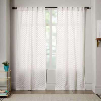 "Sheer Chevron Curtain - White - 84"" - West Elm"