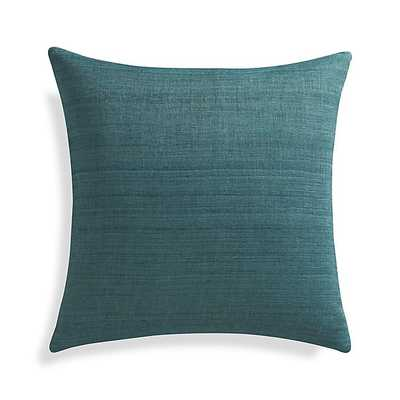"Michaela Azure Blue 20"" Pillow with Feather-Down Insert - Crate and Barrel"