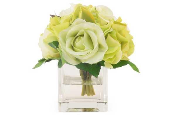 Rose & Hydrangea in Cube Vase, Faux - One Kings Lane