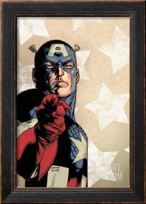 """NEW AVENGERS NO.61 COVER: CAPTAIN AMERICA - 12'' x 18'' - HIGHLAND Black frame - Width 1.75"""" - art.com"""