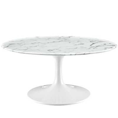 """LIPPA 36"""" ARTIFICIAL MARBLE COFFEE TABLE IN WHITE - Modway Furniture"""