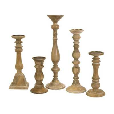 Mason Natural Wash Wood Candleholders - Set of 5 - Mercer Collection