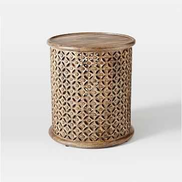 Carved Wood Large Side Table, Natural Mango - West Elm