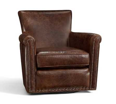 IRVING LEATHER SWIVEL ARMCHAIR WITH NAILHEADS -Leather, Molasses - Pottery Barn
