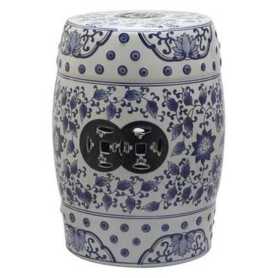 Tao Blue and White Garden Patio Stool - Home Depot
