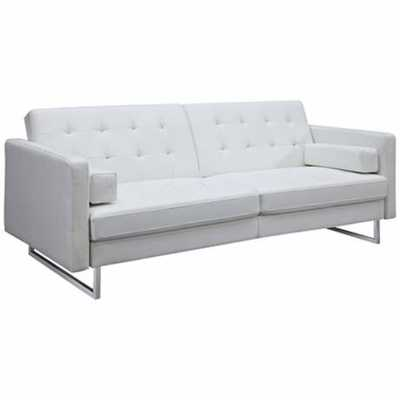 Giovanni White Faux Leather Upholstered Sleeper Sofa - Lamps Plus