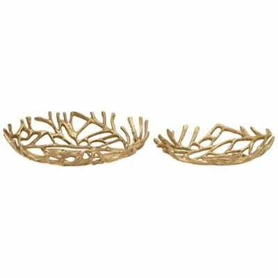 2-Piece Gold Natura Decorative Bowl Set - Lamps Plus