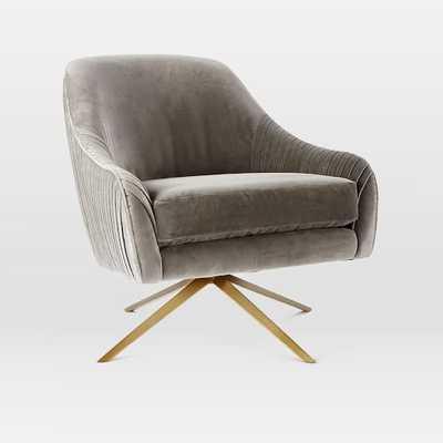 Roar + Rabbit Swivel Chair - Nickel, Como Velvet - West Elm