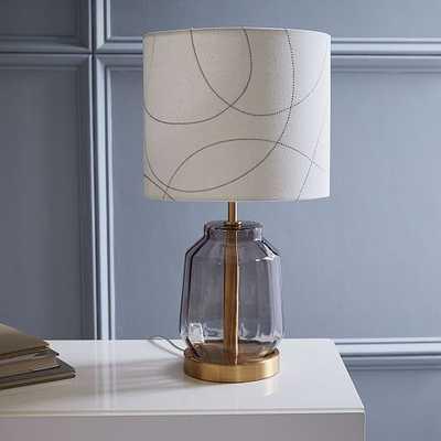 Roar + Rabbit Faceted Glass Table Lamp - Small (Smoke/Pattern) - West Elm