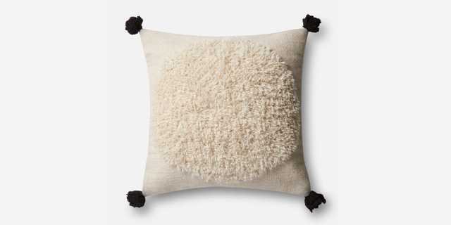 """P0483 IVORY / BLACK Pillow - 22"""" x 22"""" with down Insert - Justina Blakeney x Loloi Rugs"""
