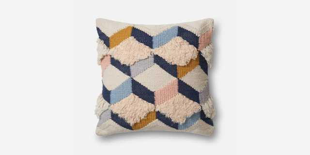 "P1027 MH NAVY / PINK Pillow - 22"" x 22"" with Poly Insert - Loma Threads"