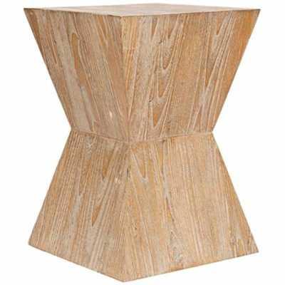 Martil Distressed Oak Wood Side Table - Lamps Plus