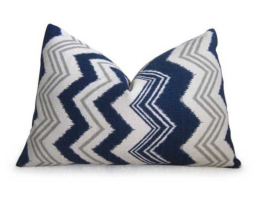 """Ikat Chevron Pillow Cover - Navy Blue - 12"""" x 18"""" - Insert Not Included - Willa Skye"""