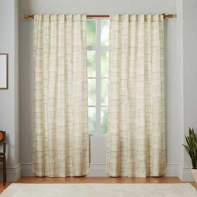 "Mid-Century Cotton Canvas Etched Grid Curtain - Slate - 96""L - Individual - West Elm"