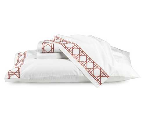 Cane Embroidery Bedding, Cases - Pair - King - Coral - Williams Sonoma Home