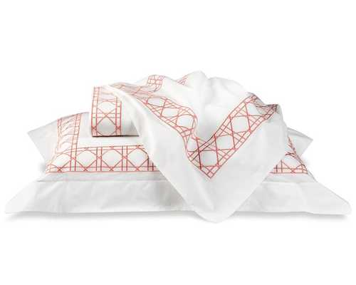 Cane Embroidery Bedding Sham - King - Coral - Williams Sonoma Home