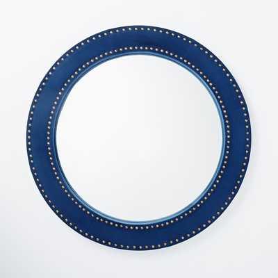 Upholstered Round Mirror - Ink - Blue Velvet - West Elm