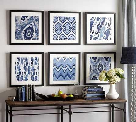 "Indigo Ikat Prints - 22 x 22"" - Set of 6 - Matte Black Frame - Pottery Barn"