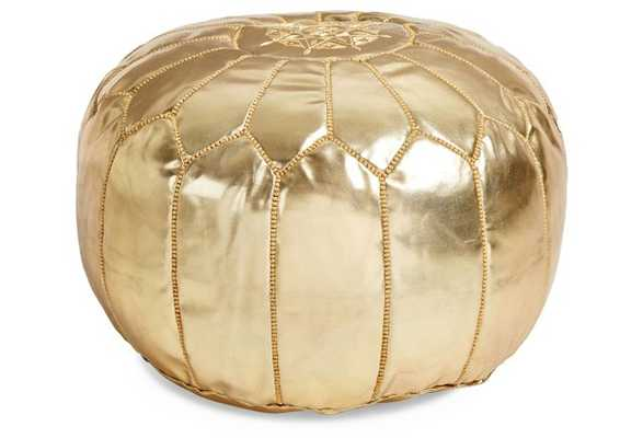 Moroccan Leather Pouf - Gold - One Kings Lane