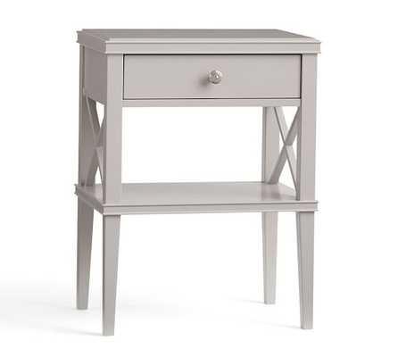 Clara Lattice Wood Narrow Bedside Table - Gray - Pottery Barn