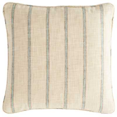 GLENDALE STRIPE LIGHT BLUE/NATURAL INDOOR/OUTDOOR DECORATIVE PILLOW- 22'' x 22''- insert included - Fresh American