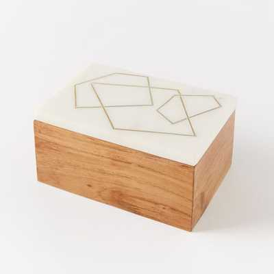 Roar + Rabbit Marble + Wood Jewelry Rectangle Box - West Elm