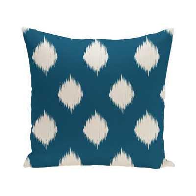 "Jaclyn Geometric Print Outdoor Throw Pillow - Teal  / White - 20"" x 20"" - Polyester/Polyfill Insert - Wayfair"
