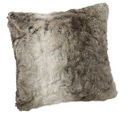 "Faux Fur Pillow Cover - Gray Ombre - 18"" x 18"" - Insert Not Included - Pottery Barn"