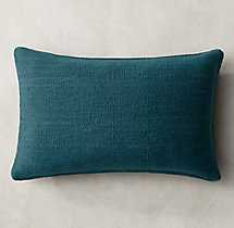 """HEATHERED FLATWEAVE PILLOW COVER - LUMBAR - 13"""" X 21""""- insert not included - RH"""