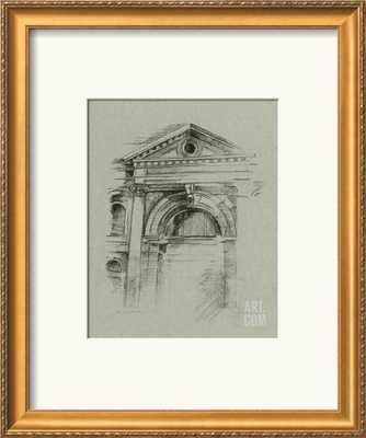 "CHARCOAL ARCHITECTURAL STUDY II - 19"" x 23"" Art Print - VERONA GOLD Frame with Mat - art.com"