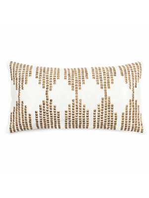 """Betrice Pillow - Gold/White - 12"""" x 21"""" - Down Filled - Lulu and Georgia"""