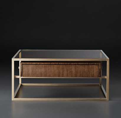 KENNAN SQUARE COFFEE TABLE - Brown Walnut & Burnished Brass - RH Modern