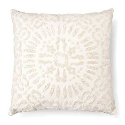 """Embellished Medallion Square Decorative Pillow (18""""x18"""") Cream With insert - Target"""