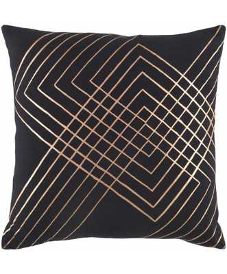 INTERSECT PILLOW, BLACK - 18''x18'' -  Polyester - Lulu and Georgia