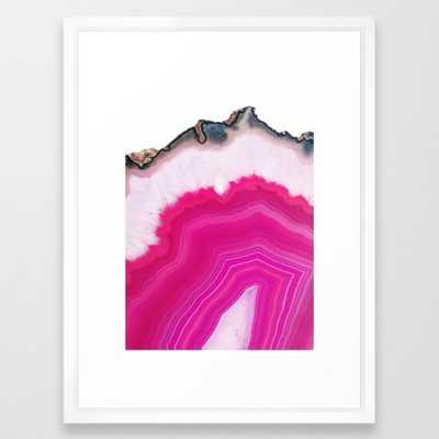"Pink Agate Slice - 20"" x 26"" - Vector White Frame - Society6"