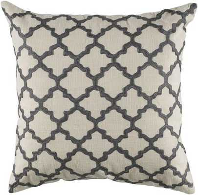 """KEYES DECORATIVE PILLOW - 18"""" SQ - White/Charcoal - Poly Insert - Home Decorators"""