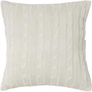 "Cable Knit Decorative Pillow - Cream - 18"" x 18"" - Polyester fill insert - Home Decorators"